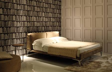 Letto Sinphony rivestito in pelle/nabook